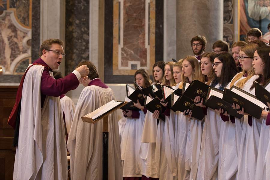 The Choir of Merton College sing Evensong at St Peter's Basilica, Rome, March 2017