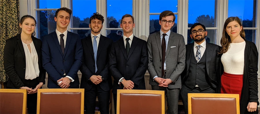 Leah Berger, Jack Horrobin, Federico Amodeo, Chris Lippert, Ross Moore, Siddhant Iyer and Petra Stojnic at the FE Smith Memorial Mooting Competition 2019.