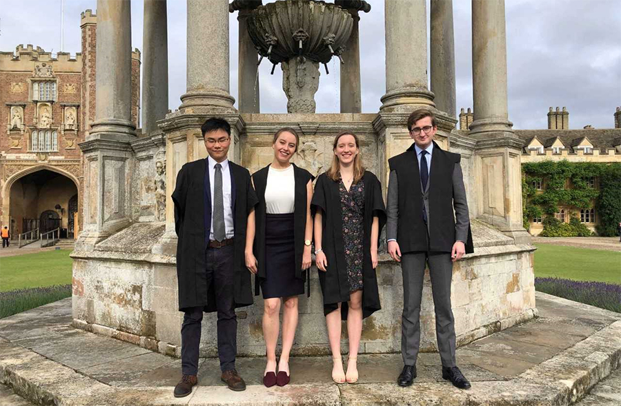 Alexander Yean (Exeter), Cassie Somers-Joce (Magdalen), Laura Harray (Brasenose), and Ross Moore (Merton) at the Varsity Roman Law Moot 2019.