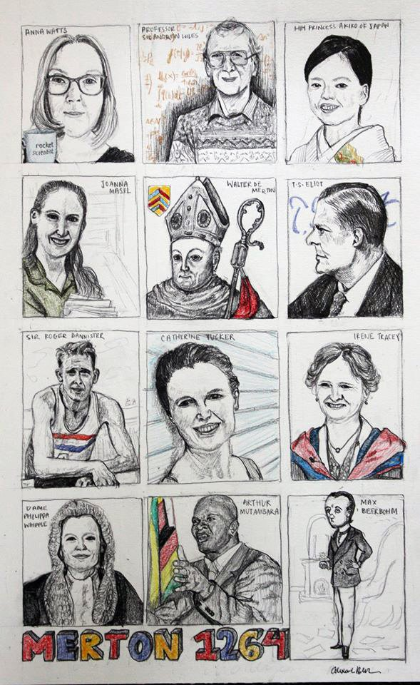 Hand-drawn illustrations of 12 Mertonians, by Alex Beukers