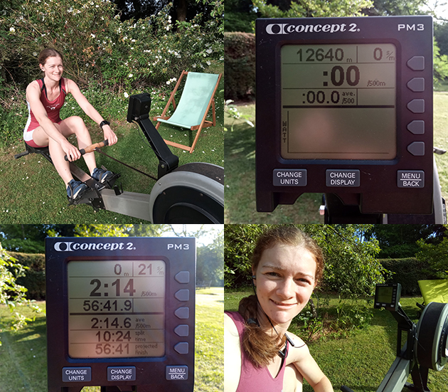 Montage of images of Amanda Thomas and her rowing machine