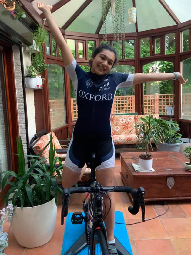Arundhati Wuppalapati at the completion of her 126.4 km turbo bike ride