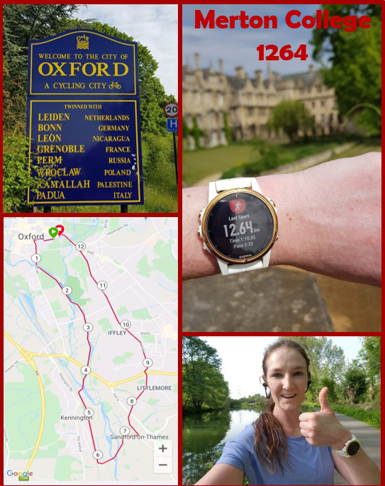 A montage of photographs showing Catherine Paverd's run as part of The Big Merton 1264 Challenge