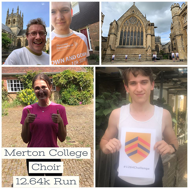 A montage of photographs showing participants in College Choir's run for The Big Merton 1264 Challenge
