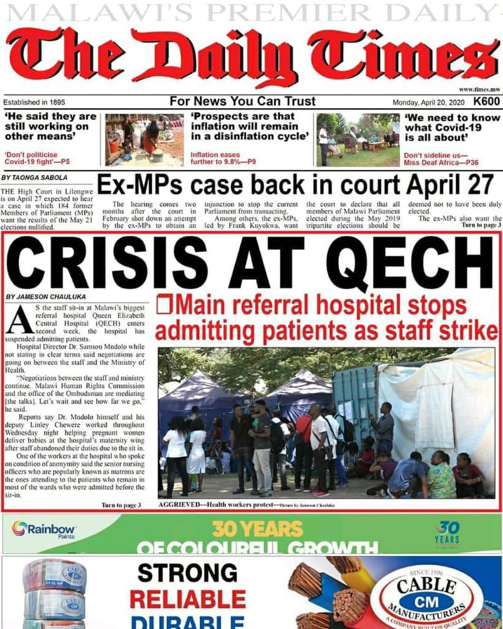 Front page of Malawi's 'Daily Times' newspaper