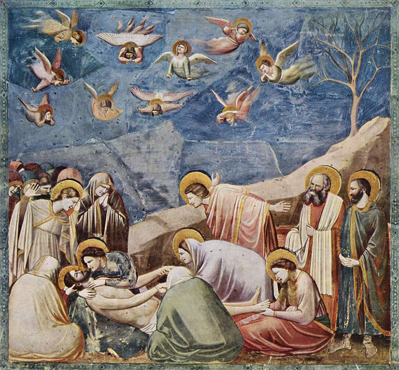 A fresco in the Scrovegni Chapel in Padua, Italy, made c.1304-1306 by Giotto, depicting the Lamentation of Christ