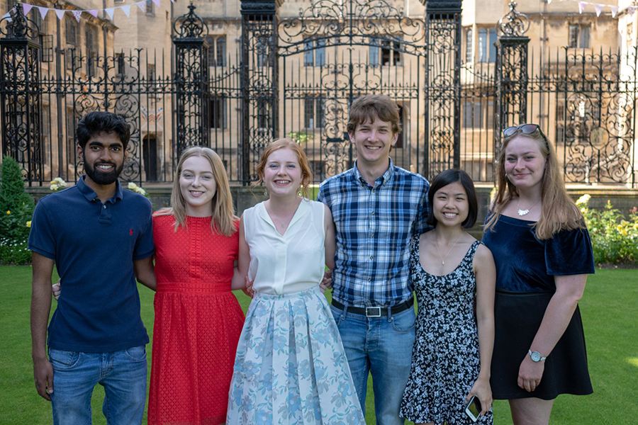 The Halsbury Society committee 2017-18: (L-R) Ameer Ismail, Eleanor Chafer, Niamh Herrett, Andrew Dixon, Valerie Chee, and Ailsa Clelland - Photo: © Oliver Stratton