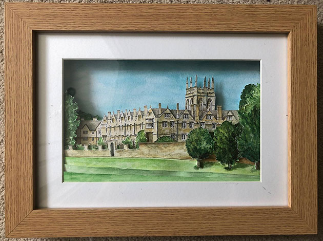 A 3D watercolour of Merton College, made by Dr Jane Gover
