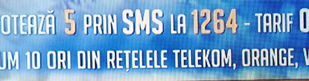 A screenshot showing the number to send an SMS to in order to vote for the Românii au talent (Romania's Got Talent) winner