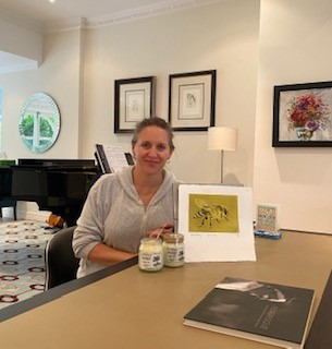 Nicola Peters with her bee print and honey