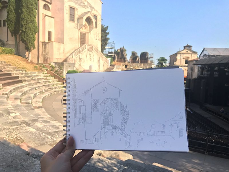 One of Ellen's sketches, and the architecture that inspired it - Photo: © Ellen Sharman