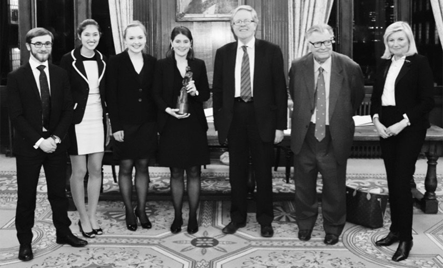 (L-R) Ed Langley, Ioana Burtea, Poppy Rimmington-Pounder, Katherine Legh, Lord Justice Jackson, Sir John Laws and Lady Justice Gloster