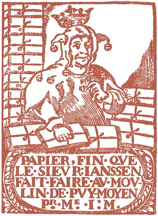 A printed ream wrapper for paper produced at the French mill, le Moulin du Verger at Puymoyen, showing reams of paper wrapped and tied