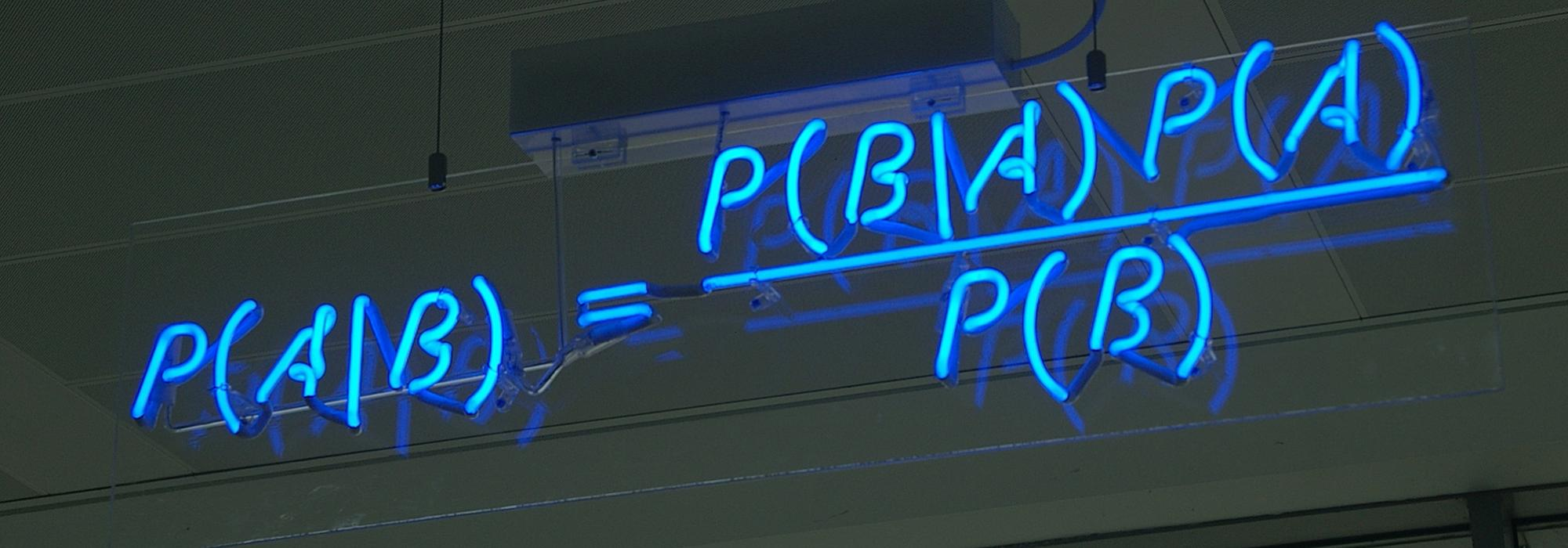 Bayes's Theorem in neon at Autonomy in Cambridge, UK - Photo: © Matt Buck - www.flickr.com/mattbuck007 - CC BY-SA 2.0 licence