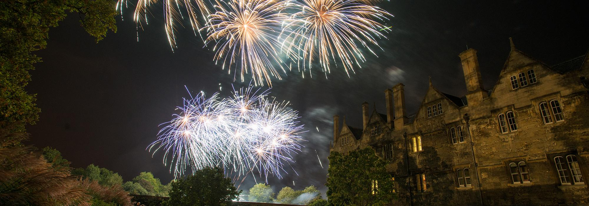 Fireworks burst over Fellows' Garden during the 750th Anniversary weekend, September 2014 - Photo: © John Cairns - www.johncairns.co.uk