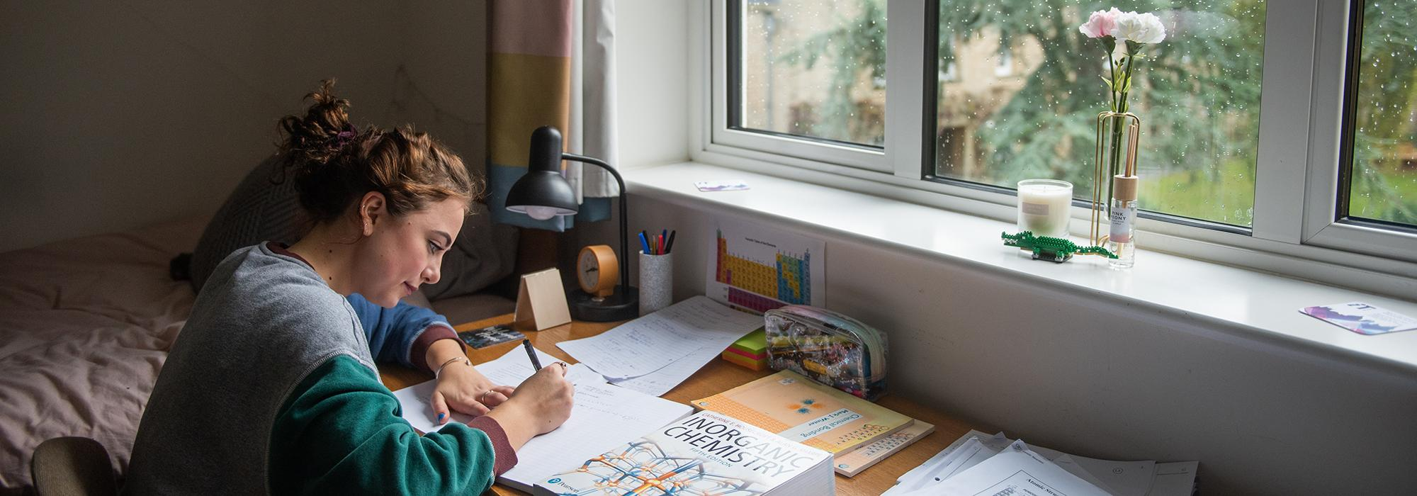 A student in their room in North Lodge, 2019 - Photo: © John Cairns - www.johncairns.co.uk