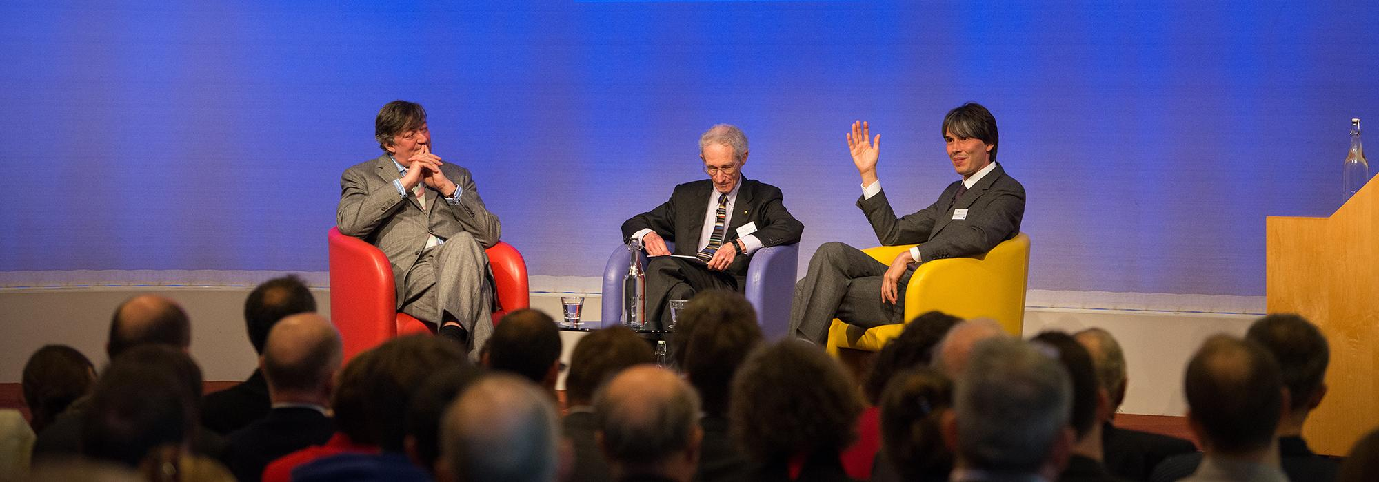 Stephen Fry, Robert May and Brian Cox in conversation at the Royal Society - Photo: © John Cairns - www.johncairns.co.uk