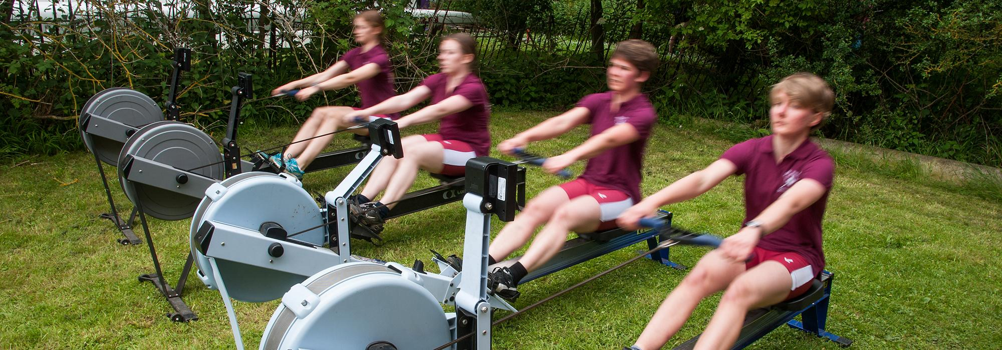 Rowers warming up on machines, Summer Eights 2014 - Photo: © John Cairns - www.johncairns.co.uk