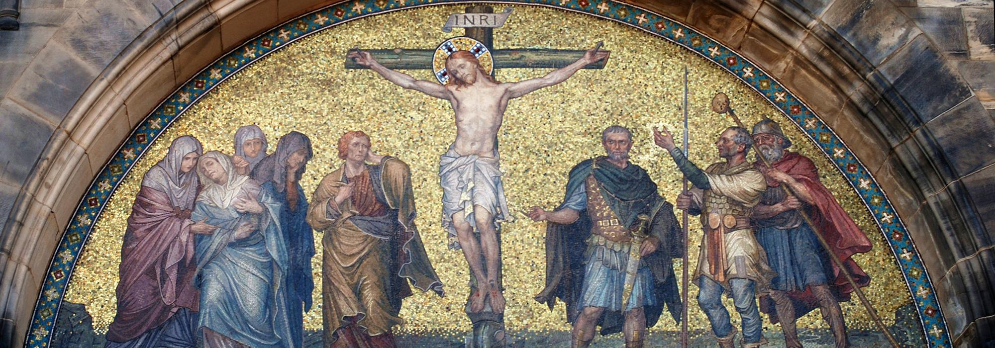 Mosaic on the facade of Bremen Cathedral showing the crucifixion of Christ - Photo: © Joaquim Alves Gaspar, via Wikimedia Commons, CC BY-SA 3.0