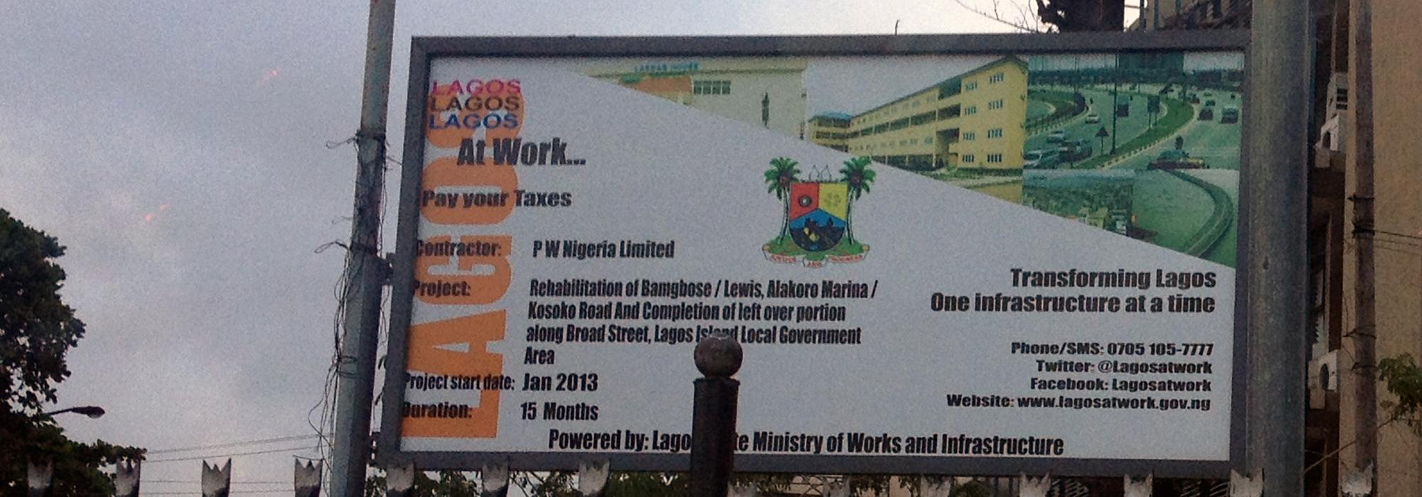 Pay Your Taxes sign in Lagos, Nigeria