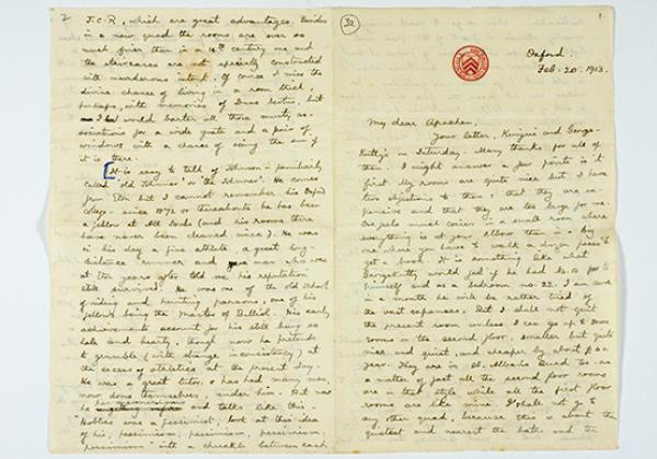 Letter home from Indian student Kuruvila Zachariah (1913)