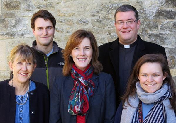 The Merton College Welfare Team, February 2018. Back row (L-R) Seb Wylie, Revd Canon Dr Simon Jones; front row (L-R) Catherine Haines (now retired), Frances Raimo, and Jenny Barrett