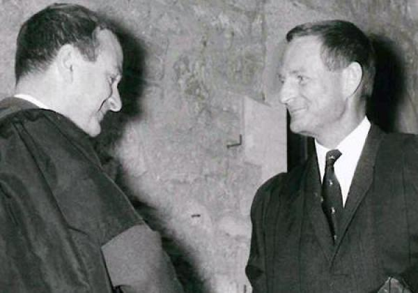 Sir Rex Richards (right) in 1969, being welcomed to the College by John Roberts (then a Fellow in History)