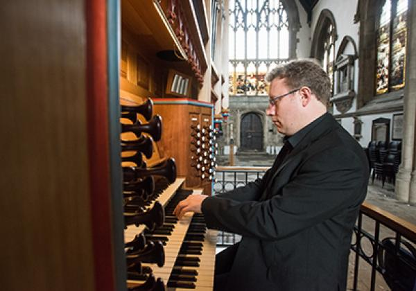 Benjamin Nicholas playing the Dobson Organ - Photo © John Cairns - www.johncairns.co.uk