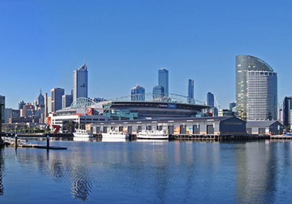 The Melbourne City Skyline taken from Waterfront City, looking across Victoria Harbour. Melbourne, Victoria, Australia. 20 July, 2006 - Original photo: © John O'Neill [CC BY-SA 3.0]