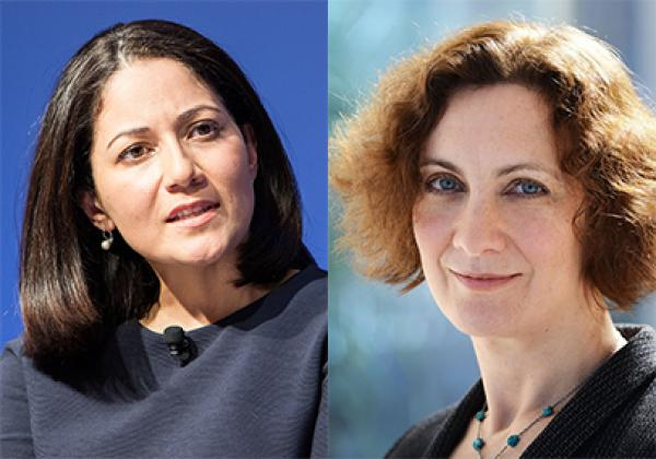 (L-R) Mishal Husain - Photo: © World Economic Forum, CC BY-SA-NC 2.0; Dinah Rose QC - Photo: © Blackstone Chambers