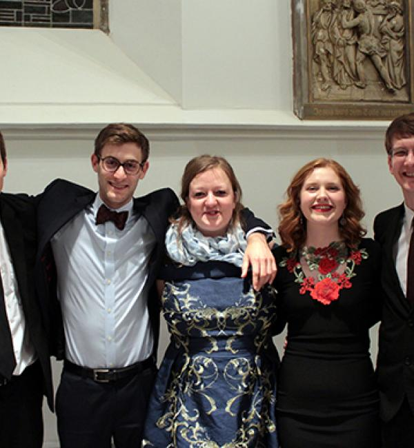 Merton's 2018 International Roman Law Moot Court team - (L-R) Tim Koch, Daniel Schwennicke, Alexandra Varga, Niamh Herrett, and Andrew Dixon