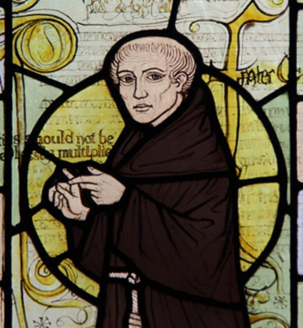 William of Ockham, from the stained glass window of a Surrey church - photo: John Salmon (CC-BY-SA 2.0)