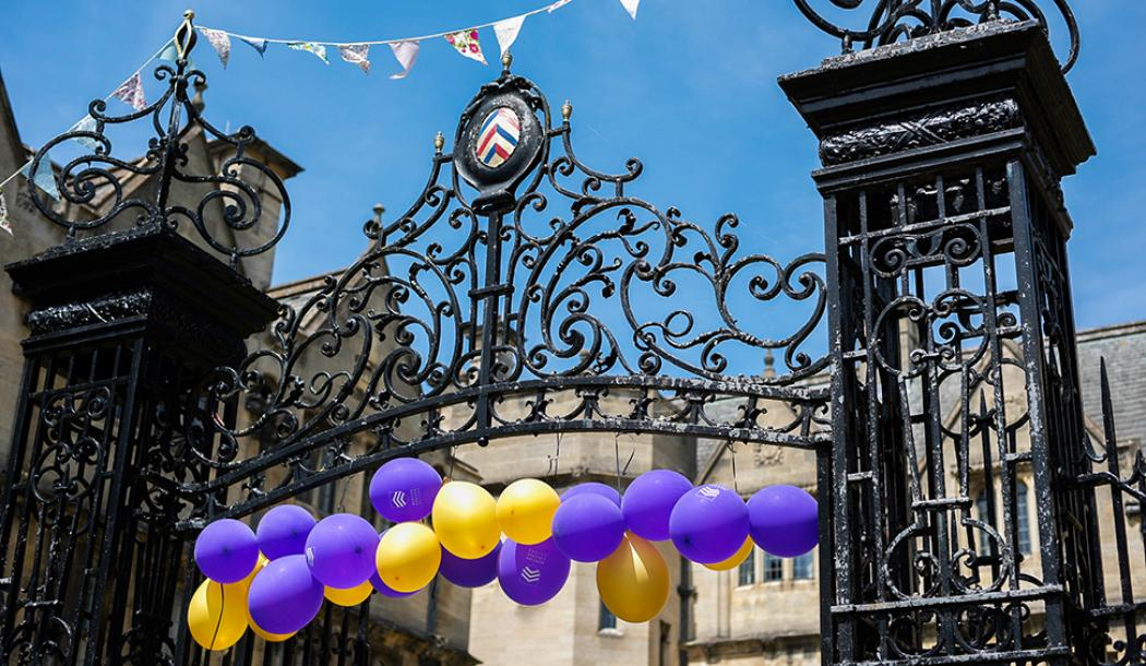 St Albans Quad gates decorated for the 2018 Merton Weekend - Photo: © Bertie Beor-Roberts (2014)