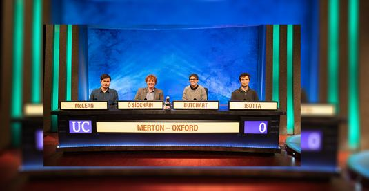 The 2020/21 Merton College University Challenge team - Photo: © ITV Studios