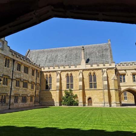 Fellows' Quad seen from the Fitzjames Arch