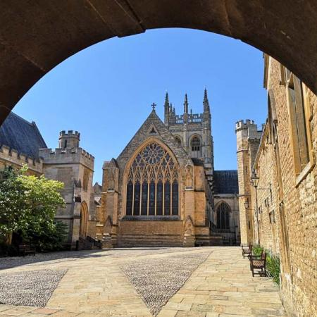 Merton College Chapel, seen from a Front Quad archway