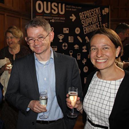 Professor Daniel Grimley at the 2016 Teaching Awards presentation, with Eden Bailey, incoming OUSU sabbatical officer for Outreach & Academic Affairs, and University College's Professor Tiffany Stern. © Oxford University Student Union 2016