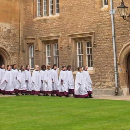 The Girl Choristers cross Mob Quad