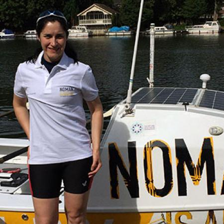 Stephanie Jones with the NOMAN boat